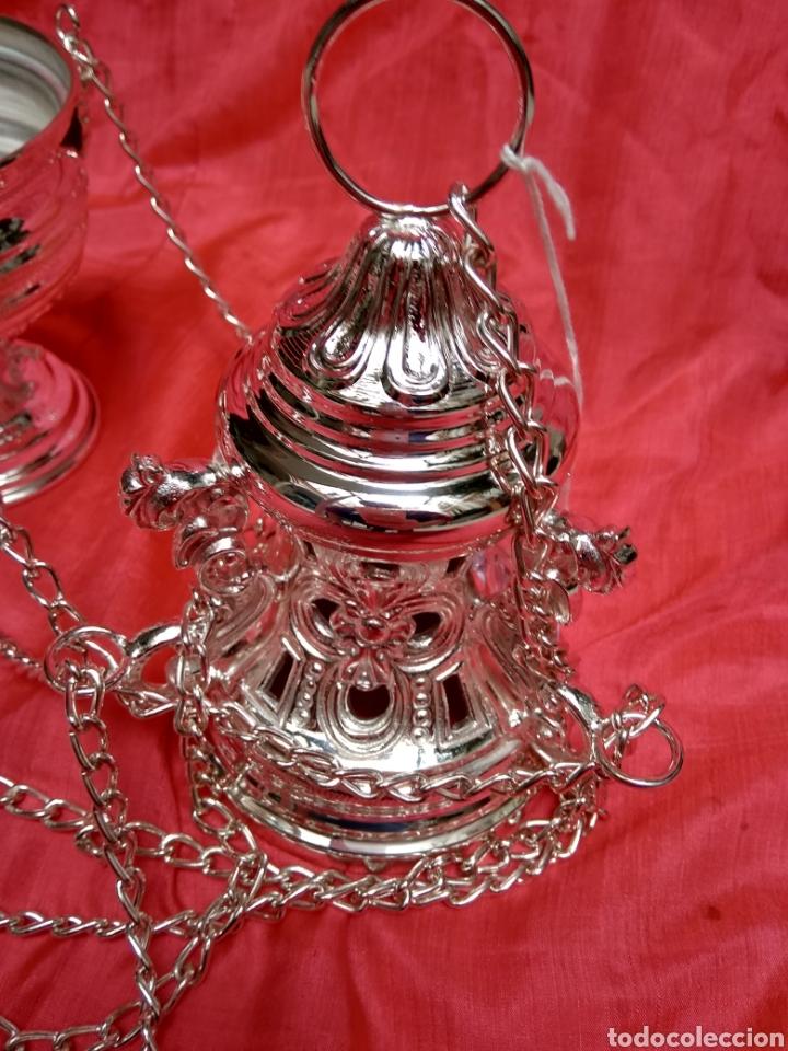 Antigüedades: Incensario de metal con baño de plata 27 cm (nuevo) - Foto 7 - 110952762