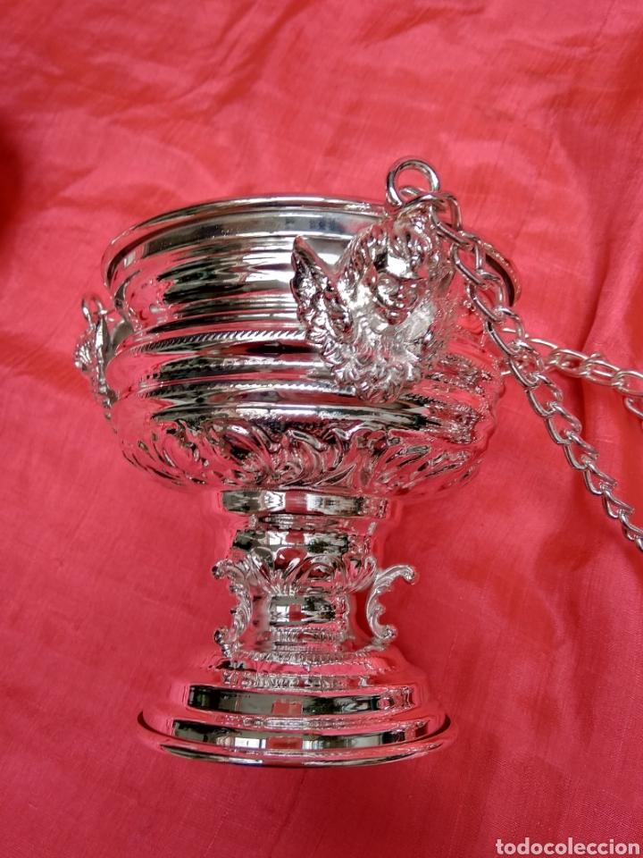 Antigüedades: Incensario de metal con baño de plata 27 cm (nuevo) - Foto 8 - 110952762