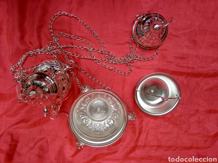 Antigüedades: Incensario de metal con baño de plata 27 cm (nuevo) - Foto 9 - 110952762