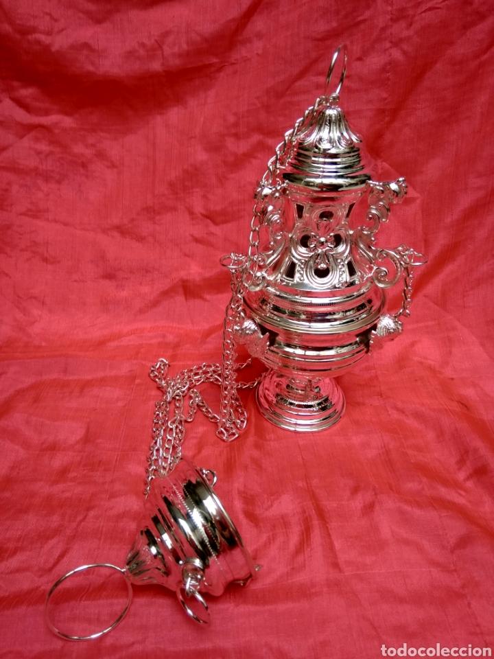 Antigüedades: Incensario de metal con baño de plata 27 cm (nuevo) - Foto 10 - 110952762