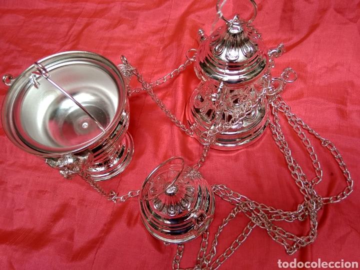 Antigüedades: Incensario de metal con baño de plata 27 cm (nuevo) - Foto 2 - 110952762