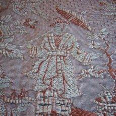 Antigüedades: PRECIOSA COLCHA DE SEDA ADAMASCADA GRANATE Y PLATA . S. XIX .. Lote 110993103