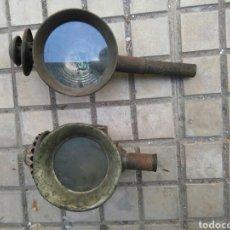 Antigüedades: 2 FAROLES DE COCHE DE CABALLOS. Lote 111008112