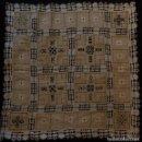 Antigüedades: ANTIGUO MANTEL DE ENCAJE SOBRE LINO GRUESO S, XIX. Lote 111023727