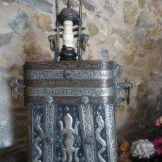Antigüedades: PORTA POLVORA MARROQUI DE CAVALLERIA SIGLO XVI- XVII EN PIEL METAL PLATEADO Y MARFIL . Lote 111041175