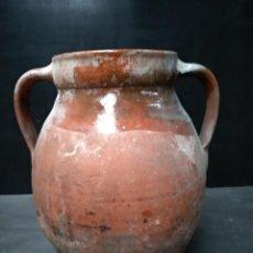 Antigüedades: OLLA DE BARRO COCIDO Y VIDRIADO, ANTIGUA. POPULAR. Lote 111042715