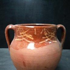 Antigüedades: OLLA DE BARRO COCIDO Y VIDRIADO, ANTIGUA. POSIBLEMENTE ZONA JAEN. Lote 111043243