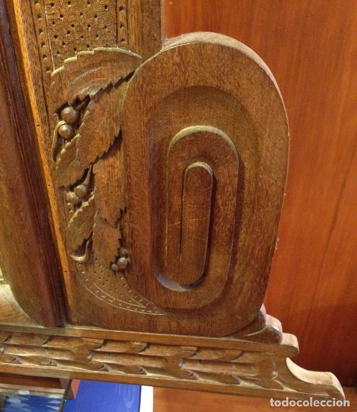 Antigüedades: Espejo madera tallada estilo rústico motivos vegetales Copete labrado - Foto 4 - 111066767