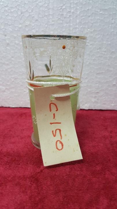 RECIPIENTE ANTIGUO VERDE PINTADO A MANO 5000 - 150 (Antigüedades - Cristal y Vidrio - Otros)