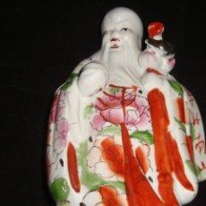 Antigüedades: DIOS CHINO SHOU XING DIOS DE LA LONGEVIDAD, DE PORCELANA DE MACAO 20CM. Lote 111278419