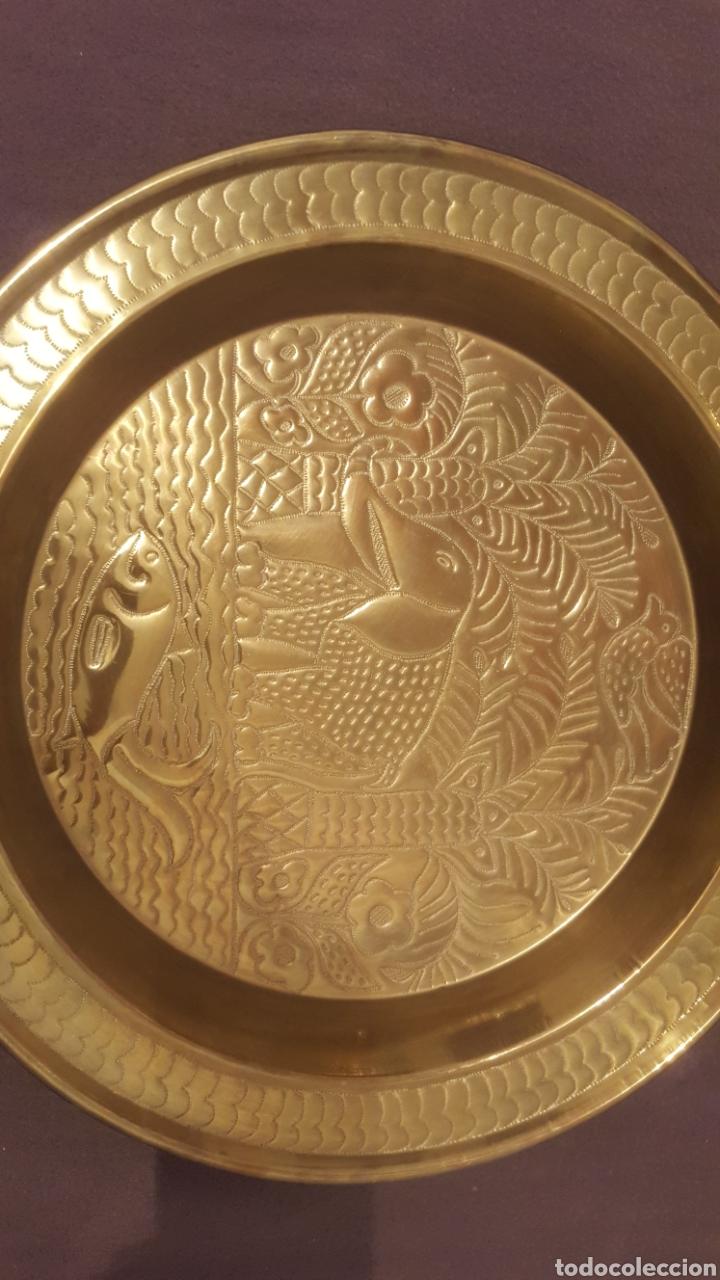 Antigüedades: Bandeja decorada de la india - Foto 4 - 111298188