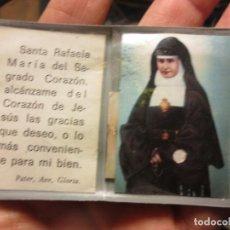Antigüedades: RELIQUIA TROZO ABITO DE SANTA RAFAELA DEL SAGRADO CORAZON ORACION . Lote 111304103