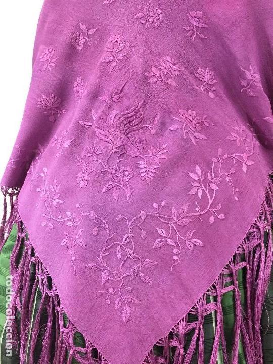 Antigüedades: Antiguo Mantón de seda bordado - Foto 8 - 111340523