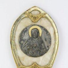 Antigüedades: ANTIGUA BENDITERA DE PRINCIPIOS DEL S. XX - SAGRADO CORAZÓN DE JESÚS - METAL, VIDRIO Y CELULOIDE. Lote 111345603