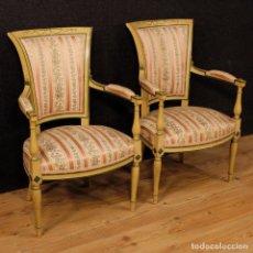Antigüedades - Par de sillones franceses lacados y pintados - 111347407