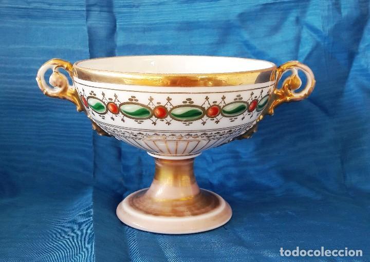 CENTRO DE MESA EN PORCELANA DE PARÍS. SIGLO XIX (Antigüedades - Porcelana y Cerámica - Francesa - Limoges)