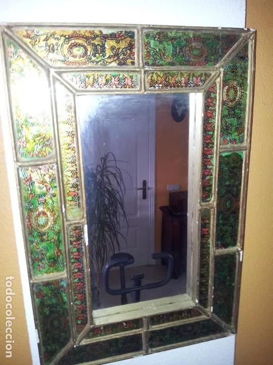 Original espejo antiguo con marco de madera y c comprar for Espejo marco cristal