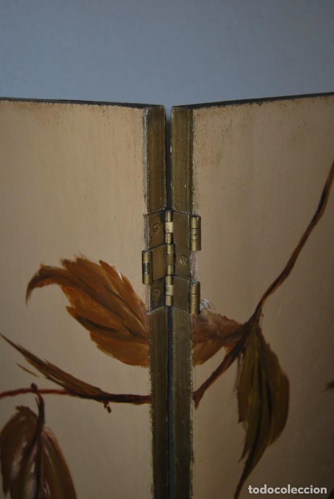 Antigüedades: PRECIOSO BIOMBO DE MADERA - CUATRO HOJAS - PINTURA ORIGINAL AL ÓLEO - AVES Y RAMAS - HOJAS -C.1960 - Foto 18 - 111417851