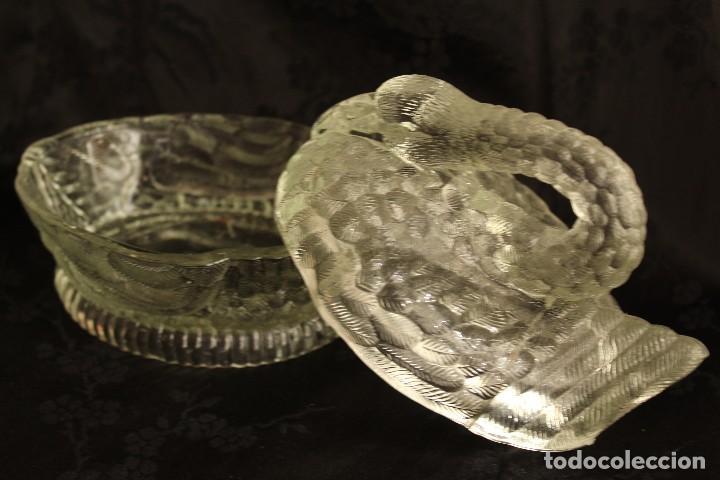 Antigüedades: AZUCARERO O MANTEQUILLERA DE CRISTAL CON FORMA DE CISNE EN CRISTAL PRENSADO ESPAÑA - Foto 2 - 111423407