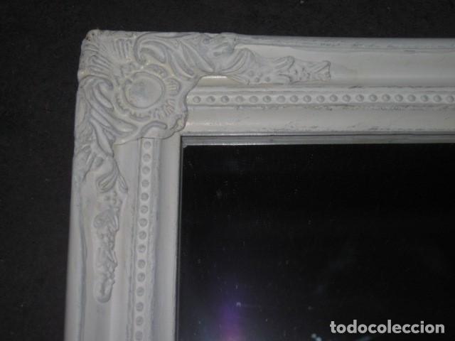 Antigüedades: marco espejo estilo isabelino blanco medida 57 x 46 - Foto 2 - 111448943