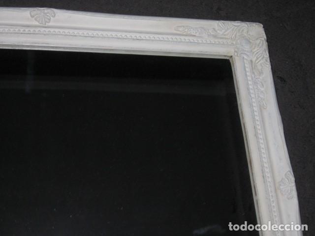 Antigüedades: marco espejo estilo isabelino blanco medida 57 x 46 - Foto 3 - 111448943