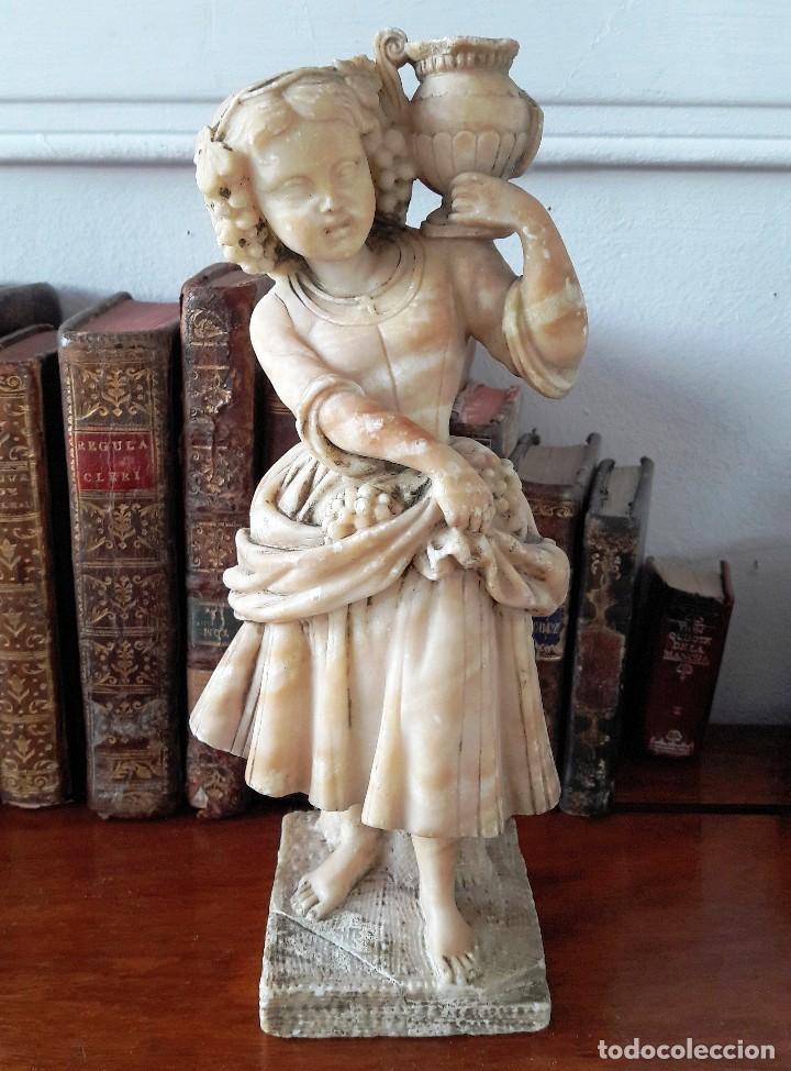 ESCULTURA DE NIÑA EN ALABASTRO DEL SIGLO XIX (Antigüedades - Hogar y Decoración - Figuras Antiguas)