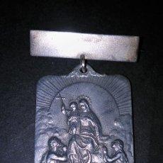 Antigüedades: ANTIGUO Y ESPECTACULAR BROCHE RELIGIOSO CON MEDALLA GRANDE MARIA REPARATRIX ORA PRO NOBIS SXX. Lote 111453575