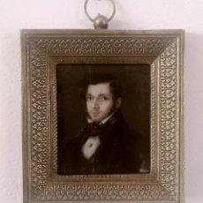 Antigüedades - Retrato en miniatura pintado sobre marfil. Siglo XIX - 111463747
