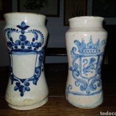 Antigüedades: MAGISTRALES PAREJAS DE ALBARELOS FARMACIA S.XIX O S.XVIII // TRIANA O TALAVERA. Lote 111473435
