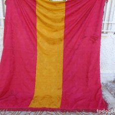 Antiques - Antiguo Pendon procesional adamascado de gran tamaño con los colores de la bandera de españa - 111502187