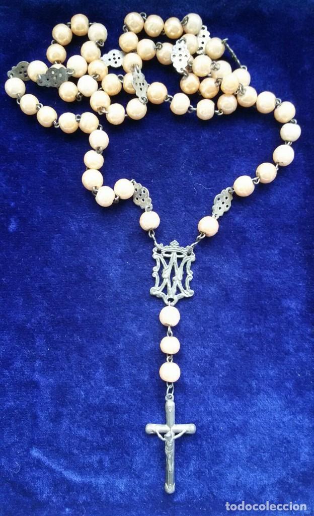Antigüedades: Antiguo rosario plata y con cuentas marrones principio siglo XX - Foto 3 - 111508023