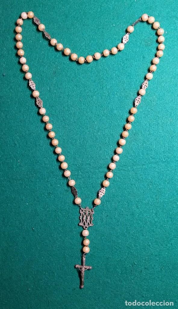 Antigüedades: Antiguo rosario plata y con cuentas marrones principio siglo XX - Foto 4 - 111508023