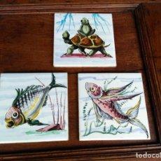 Antigüedades: LOTE DE 3 AZULEJOS PINTADOS A MANO. Lote 111530671