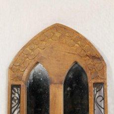 Antigüedades: ESPEJO EN MADERA Y FORJA. Lote 111553911