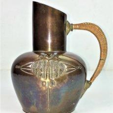 Antigüedades: JARRA. BRONCE CINCELADO. RAFIA. CON MARCA KAISER. JUGENDSTYL. ALEMANIA. CIRCA 1900. Lote 111579975