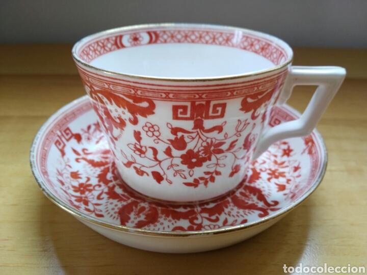 TAZA Y PLATO MINTON 1889 (Antigüedades - Porcelanas y Cerámicas - Inglesa, Bristol y Otros)