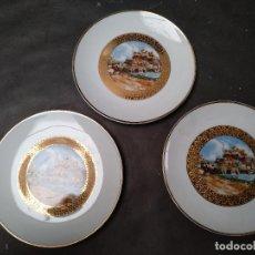 Antigüedades: CONJUNTO DE TRES PLATOS IGUALES, PORCELANA LIMOGES SELLADA. Lote 111610783