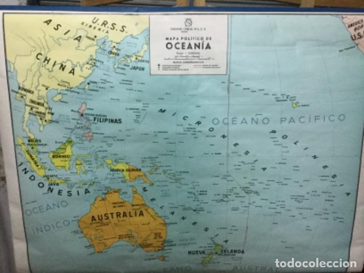 MAPA FÍSICO Y POLÍTICO DE OCEANÍA, IMPECABLE. (Antigüedades - Varios)