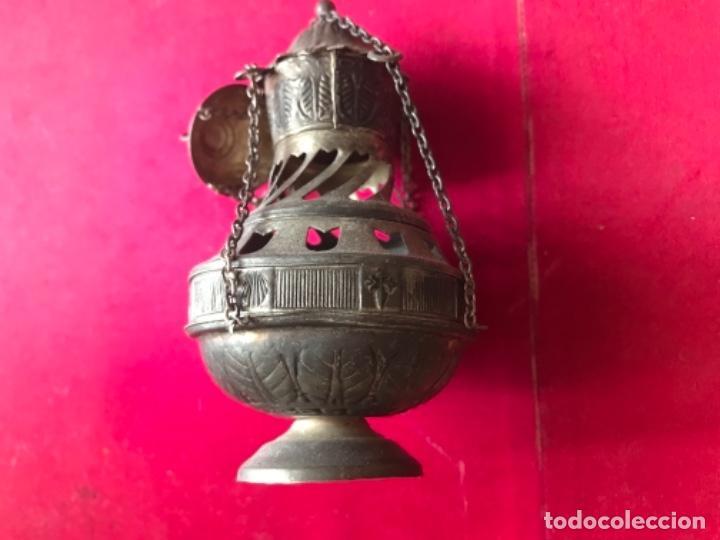 Antigüedades: Antiguo incensario realizado en metal plateado. - Foto 2 - 111662611
