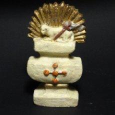 Antigüedades: ANTIGUA FIGURA DEL AGNUS DEI.CORDERO DE DIOS EN BARRO.. Lote 111676411