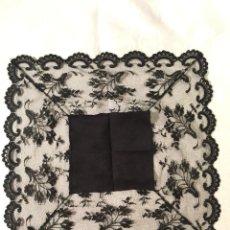 Antiquitäten - Pañuelo negro para virgen de imitación de blonda española. - 111695707
