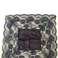 Antiquitäten - Pañuelo azul marino, para virgen; imitación de blonda española. - 111696523