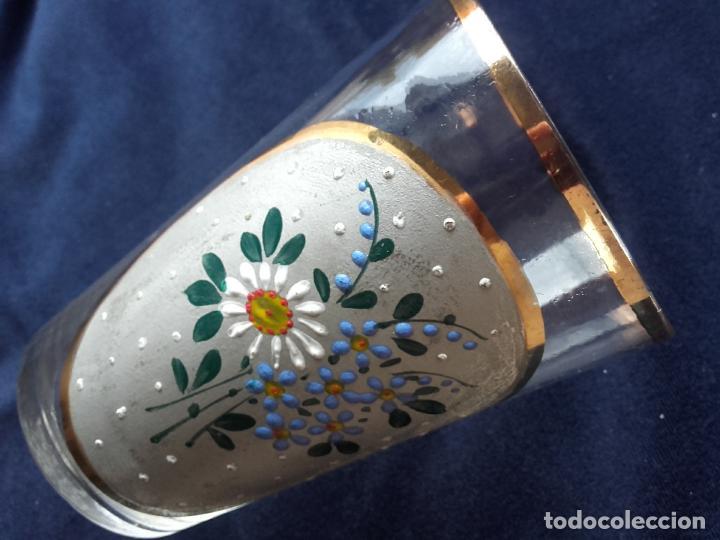 VASO CRISTAL ESMALTADO (Antigüedades - Cristal y Vidrio - Otros)