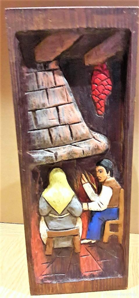 ESTUPENDA CAJA DE MADERA / PONGOTODO O BOTELLERO / TALLADA A MANO Y POLICROMADA. 38 X 15 X 11.5 CM. (Antigüedades - Hogar y Decoración - Cajas Antiguas)