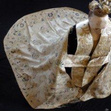 Antigüedades: MANTO DE SEDA ESPOLINADA MANUALMENTE CON UNAS DIMENSIONES DE 123 X 183 CM. SIGLOS XVIII-XIX.. Lote 57938897