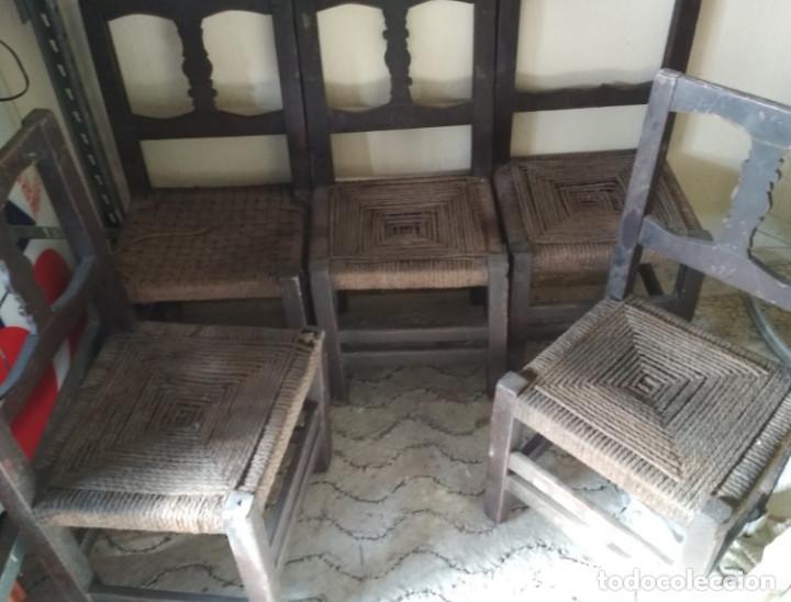 juego de 5 sillas antiguas de madera y esparto, - Comprar Sillas ...