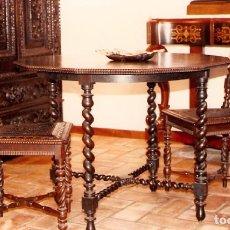Antigüedades: MESA Y SILLAS TORNEADAS. Lote 111774179