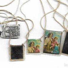 Antigüedades: LOTE DE 3 ANTIGUOS ESCAPULARIOS VIRGEN. Lote 111797715