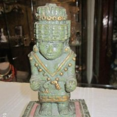Antigüedades: FIGURA DE LA DIOSA DEL AGUA AZTECA, EN RESINA. 17 CMS. ALTURA.. Lote 111870727