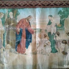 Antigüedades: TAPIZ RELIGIOSO SIGLO XIX GRAN TAMAÑO.. Lote 111874395
